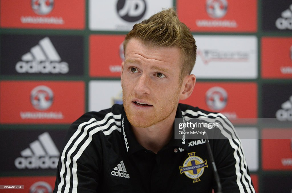 Antrim , Ireland - 26 May 2016; Steve Davis of Northern Ireland during a press conference at Windsor Park, Belfast, Co. Antrim.