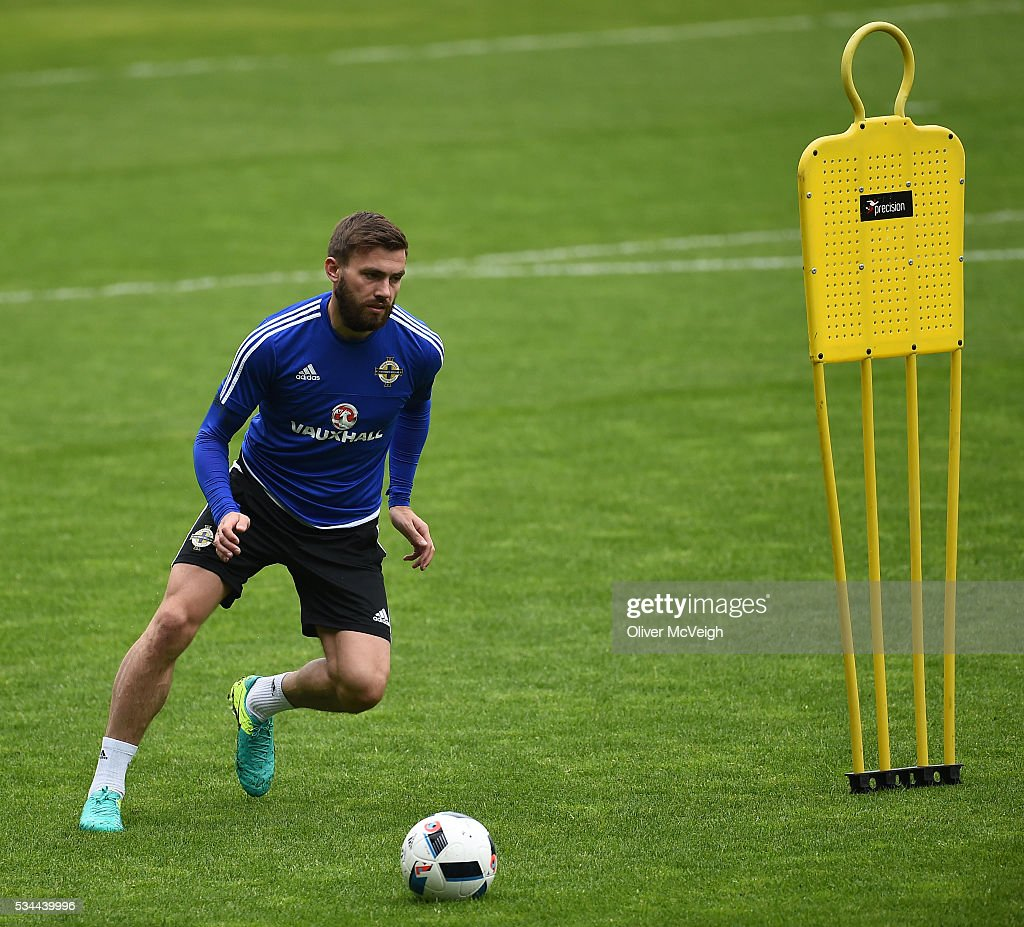 Antrim , Ireland - 26 May 2016; Stuart Dallas of Northern Ireland during squad training at Windsor Park, Belfast, Co. Antrim.