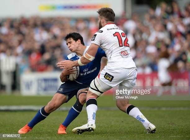 Antrim Ireland 6 May 2017 Joey Carbery of Leinster is tackled by Stuart McCloskey of Ulster during the Guinness PRO12 Round 22 match between Ulster...