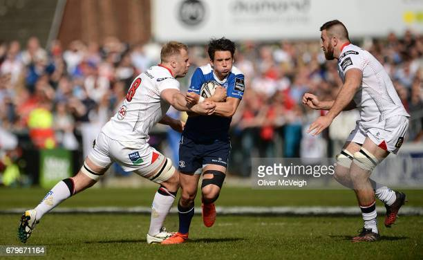 Antrim Ireland 6 May 2017 Joey Carbery of Leinster is tackled by Roger Wilson and Alan O'Connor of Ulster during the Guinness PRO12 Round 22 match...