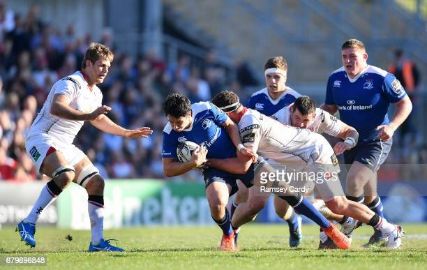 Antrim Ireland 6 May 2017 Joey Carbery of Leinster is tackled by Rob Herring of Ulster during the Guinness PRO12 Round 22 match between Ulster and...