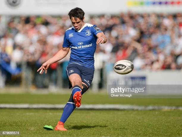 Antrim Ireland 6 May 2017 Joey Carbery of Leinster kicking a penalty during the Guinness PRO12 Round 22 match between Ulster and Leinster at Kingspan...