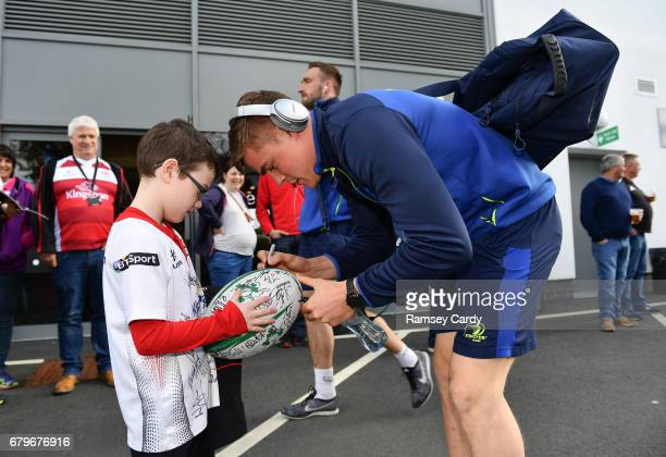 Antrim Ireland 6 May 2017 Leinster's Garry Ringrose signs an autograph for 8 year old Ulster supporter Mark Buchanan ahead of the Guinness PRO12...