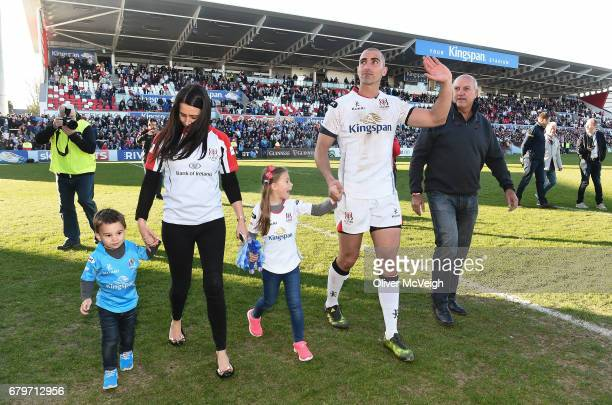 Antrim Ireland 6 May 2017 Ruan Pienaar of Ulster along with his family son JeanLuc wife Monique daughter Lemay and Father Gysie Pienaar during a lap...
