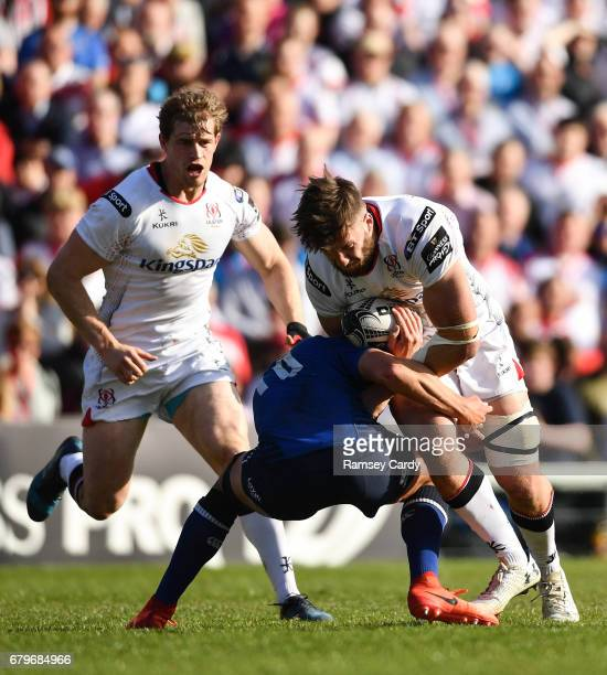 Antrim Ireland 6 May 2017 Stuart McCloskey of Ulster is tackled by Joey Carbery of Leinster during the Guinness PRO12 Round 22 match between Ulster...