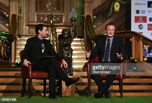 Antrim Northern Ireland 28 May 2016 Michael O'Neill Northern Ireland manager being interviewed by Colin Murray fan and celebrity broadcaster during a...