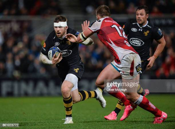 Antrim United Kingdom 13 October 2017 Elliot Daly of Wasps in action against Stuart McCloskey of Ulster during the European Rugby Champions Cup Pool...