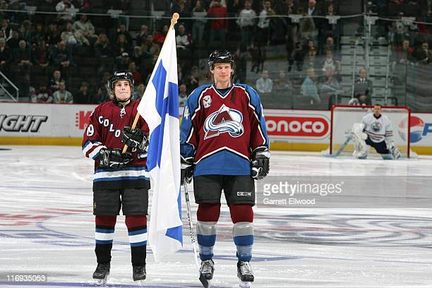Antti Laaksonen of the Colorado Avalanche during a ceremony to acknowledge olympians prior to the game against the Edmonton Oilers on February 7 2006...