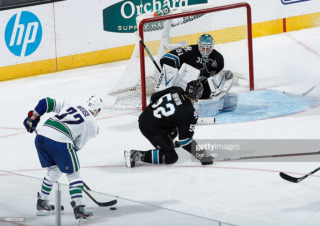 Antti Niemi #31 and Matthew Irwin #52 of the San Jose Sharks protect the net against Dale Weise #32 of the Vancouver Canucks during an NHL game on January 27, 2013 at HP Pavilion in San Jose, California.