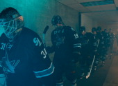 Antti Niemi Joe Thornton and teammates of the San Jose Sharks head out of the locker room against the Los Angeles Kings in Game Seven of the First...