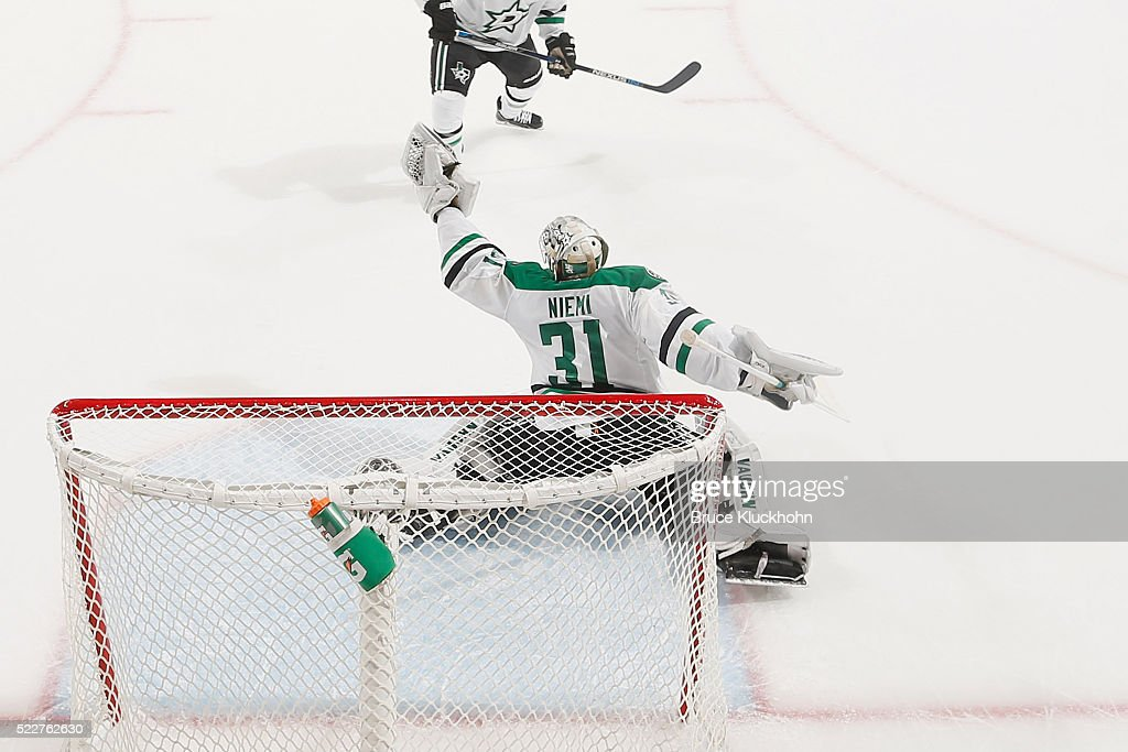 Antti Niemi #31 of the Dallas Stars makes a glove save against the Minnesota Wild in Game Four of the Western Conference First Round during the 2016 NHL Stanley Cup Playoffs on April 20, 2016 at the Xcel Energy Center in St. Paul, Minnesota.