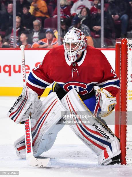 Antti Niemi of the Montreal Canadiens protects his net against the Edmonton Oilers during the NHL game at the Bell Centre on December 9 2017 in...