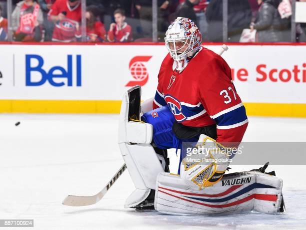 Antti Niemi of the Montreal Canadiens protects his net during the warmup prior to the NHL game against the Detroit Red Wings at the Bell Centre on...