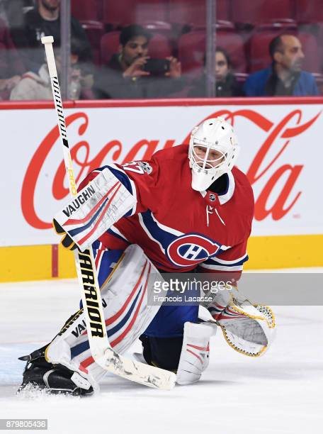 Antti Niemi of the Montreal Canadiens warms up prior to the NHL game against the Arizona Coyotes at the Bell Centre on November 16 2017 in Montreal...