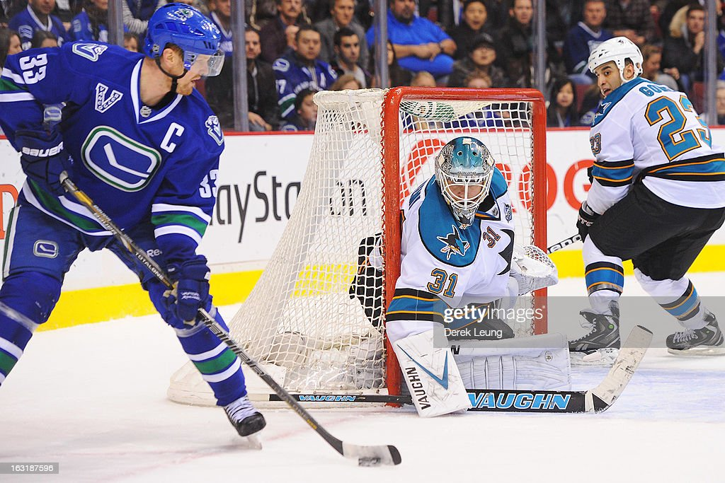 <a gi-track='captionPersonalityLinkClicked' href=/galleries/search?phrase=Antti+Niemi&family=editorial&specificpeople=213913 ng-click='$event.stopPropagation()'>Antti Niemi</a> #31 of the San Jose Sharks defends net against <a gi-track='captionPersonalityLinkClicked' href=/galleries/search?phrase=Henrik+Sedin&family=editorial&specificpeople=202574 ng-click='$event.stopPropagation()'>Henrik Sedin</a> #33 of the Vancouver Canucks during an NHL game at Rogers Arena on March 5, 2013 in Vancouver, British Columbia, Canada.