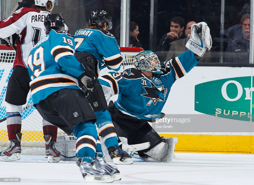<a gi-track='captionPersonalityLinkClicked' href=/galleries/search?phrase=Antti+Niemi&family=editorial&specificpeople=213913 ng-click='$event.stopPropagation()'>Antti Niemi</a> #31 of the San Jose Sharks makes a save against the Colorado Avalanche during an NHL game on February 26, 2013 at HP Pavilion in San Jose, California.