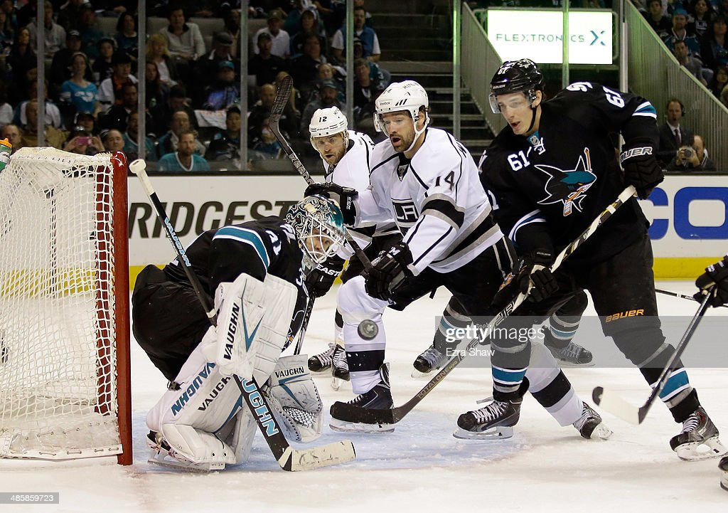Antti Niemi #31 of the San Jose Sharks makes a save in the third period of their game against the Los Angeles Kings in Game Two of the First Round of the 2014 NHL Stanley Cup Playoffs at SAP Center on April 20, 2014 in San Jose, California.