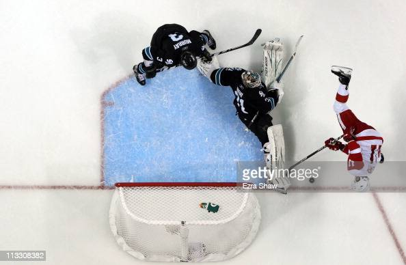 Antti Niemi of the San Jose Sharks makes a save on a shot taken by Daniel Cleary of the Detroit Red Wings in Game Two of the Western Conference...