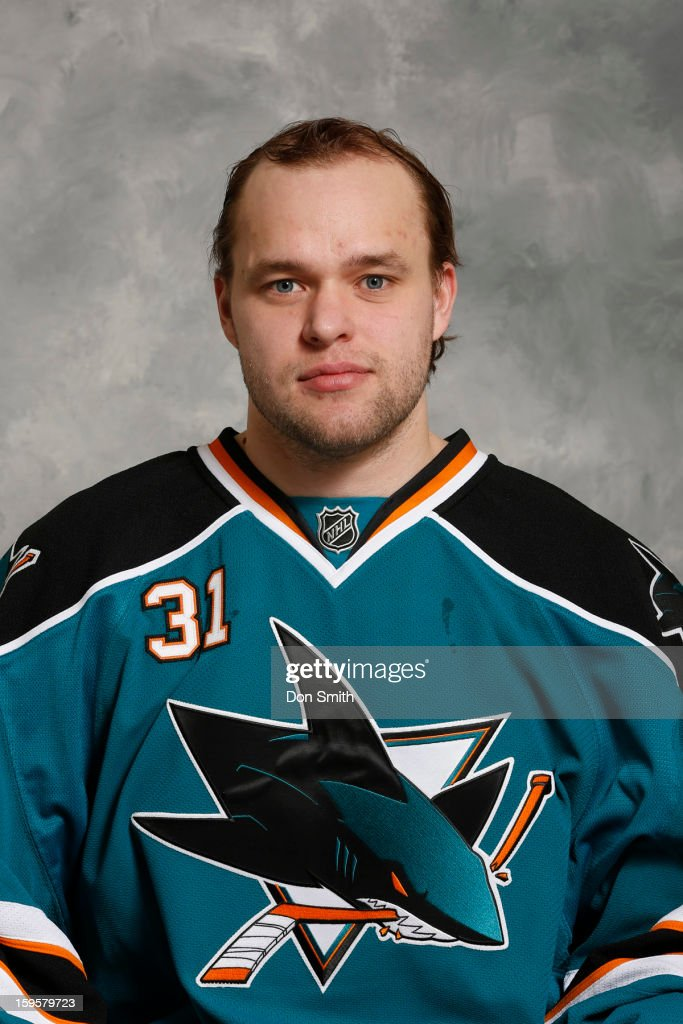 Antti Niemi #31 of the San Jose Sharks poses for his official headshot for the 2012-13 season on January 13, 2013 at Sharks Ice in San Jose, California.