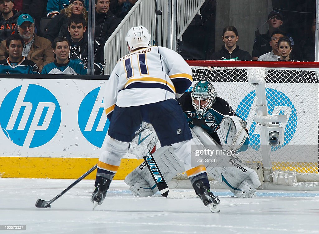 <a gi-track='captionPersonalityLinkClicked' href=/galleries/search?phrase=Antti+Niemi&family=editorial&specificpeople=213913 ng-click='$event.stopPropagation()'>Antti Niemi</a> #31 of the San Jose Sharks prepares for a shoot out shot against <a gi-track='captionPersonalityLinkClicked' href=/galleries/search?phrase=David+Legwand&family=editorial&specificpeople=202553 ng-click='$event.stopPropagation()'>David Legwand</a> #11 of the Nashville Predators during an NHL game on February 2, 2013 at HP Pavilion in San Jose, California.