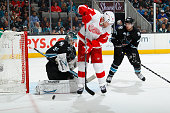 Antti Niemi of the San Jose Sharks protects the net against Daniel Cleary of the Detroit Red Wings at SAP Center on January 9 2014 in San Jose...