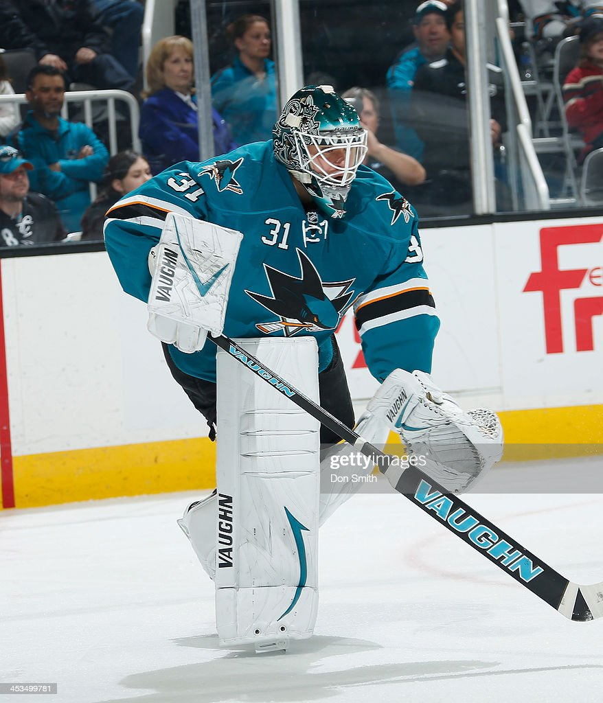 <a gi-track='captionPersonalityLinkClicked' href=/galleries/search?phrase=Antti+Niemi&family=editorial&specificpeople=213913 ng-click='$event.stopPropagation()'>Antti Niemi</a> #31 of the San Jose Sharks protects the net against the Los Angeles Kings during an NHL game on November 27, 2013 at SAP Center in San Jose, California.