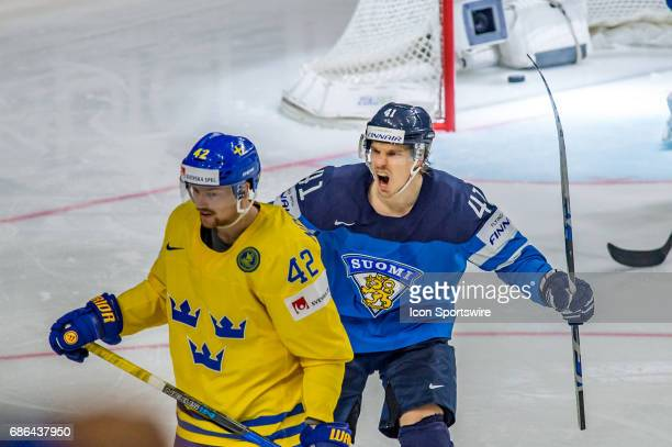 Antti Pihlstrom celebrates a goal during the Ice Hockey World Championship Semifinal between Sweden and Finland at Lanxess Arena in Cologne Germany...