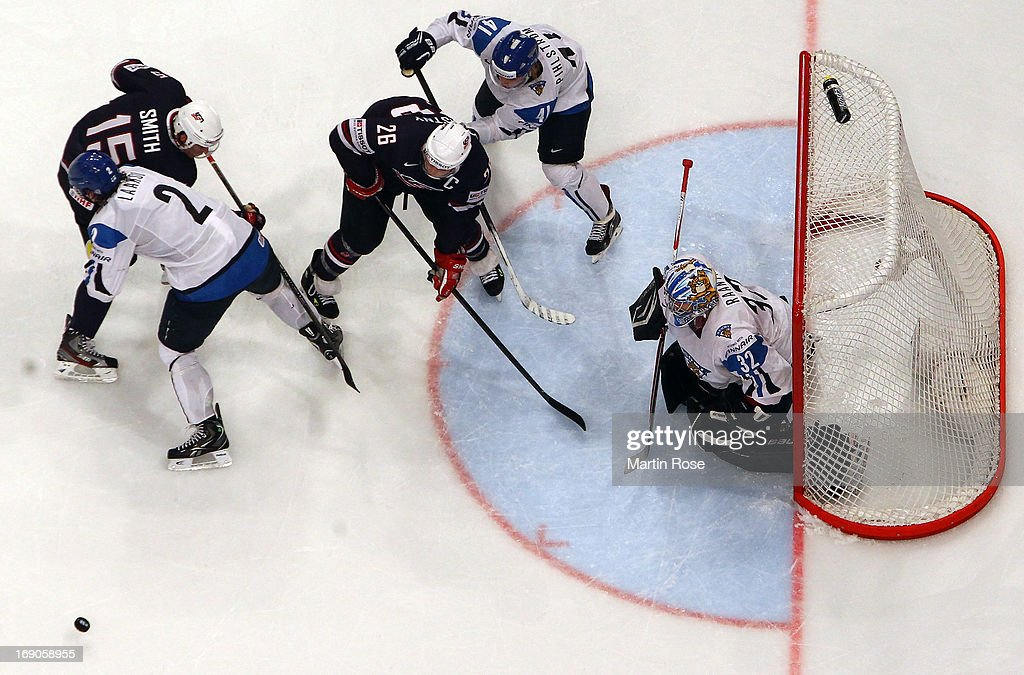 Antti Raanta (#32), goaltender of Finland makes a save on <a gi-track='captionPersonalityLinkClicked' href=/galleries/search?phrase=Paul+Stastny&family=editorial&specificpeople=2494330 ng-click='$event.stopPropagation()'>Paul Stastny</a> (#26) of USA during the IIHF World Championship third place match between Finland and USA at Globen Arena on May 19, 2013 in Stockholm, Sweden.