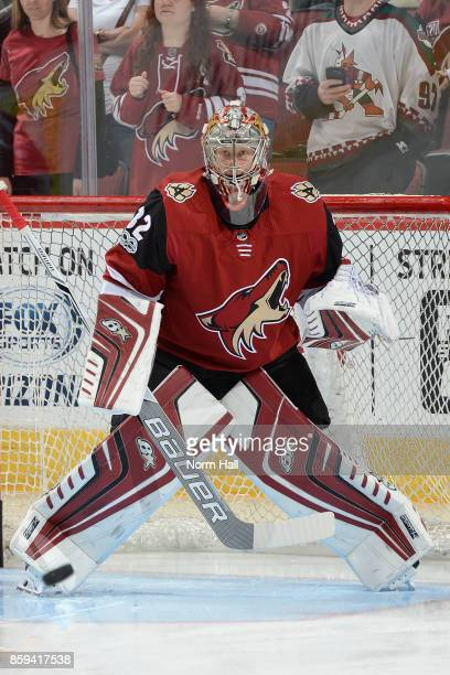 Antti Raanta of the Arizona Coyotes gets ready to make a save against the Vegas Golden Knights at Gila River Arena on October 7 2017 in Glendale...