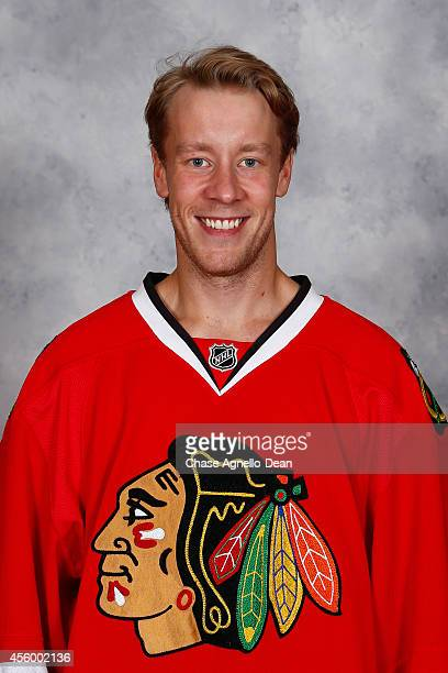 Antti Raanta of the Chicago Blackhawks poses for his official headshot for the 20142015 season on September 18 2014 at the United Center in Chicago...