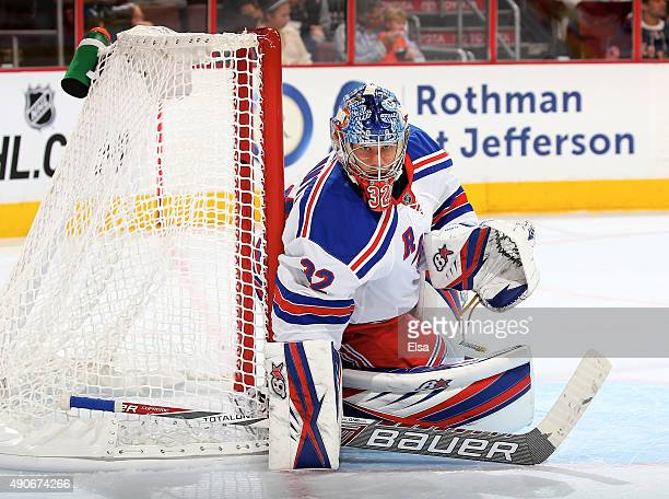 Antti Raanta of the New York Rangers defends his goal in the second period against the Philadelphia Flyers on April 7 2015 at the Wells Fargo Center...