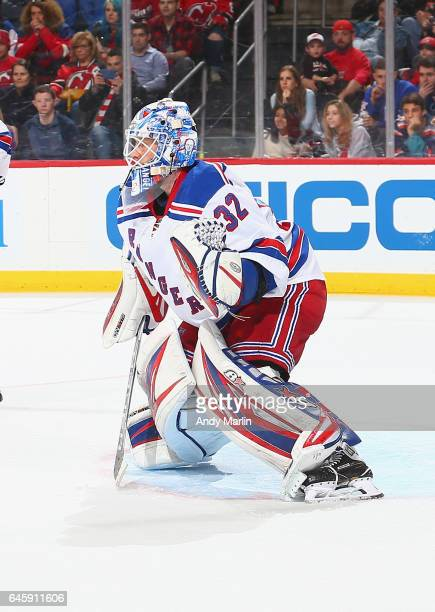Antti Raanta of the New York Rangers defends his net against the New Jersey Devils at Prudential Center on February 25 2017 in Newark New Jersey