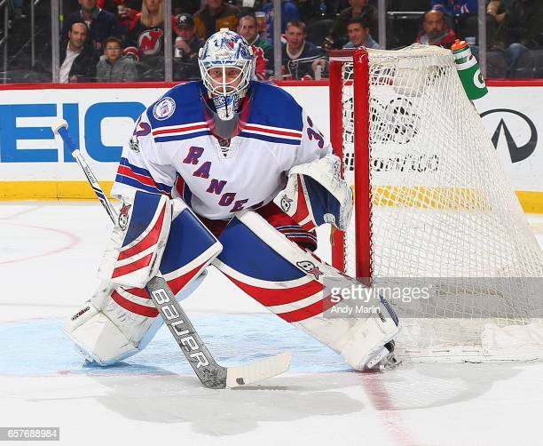 Antti Raanta of the New York Rangers defends his net during the game against the New Jersey Devils during the game at Prudential Center on March 21...