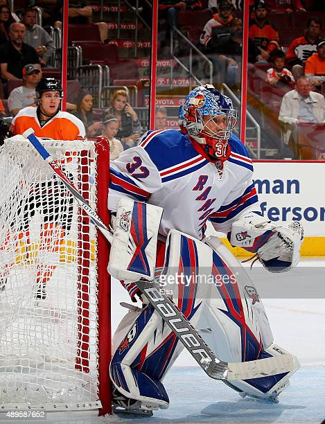 Antti Raanta of the New York Rangers defends in the second period against the Philadelphia Flyers on April 7 2015 at the Wells Fargo Center in...