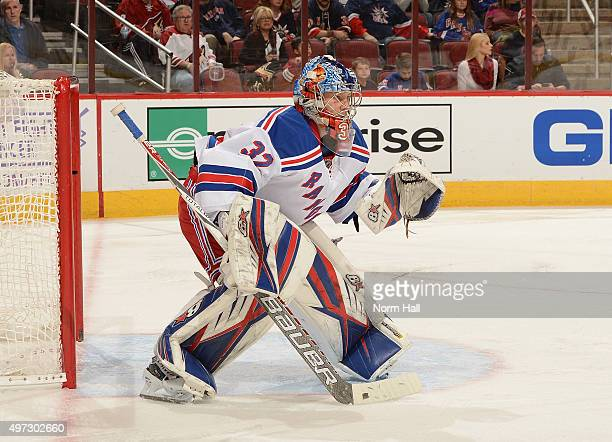 Antti Raanta of the New York Rangers gets ready to make a save against the Arizona Coyotes at Gila River Arena on November 7 2015 in Glendale Arizona