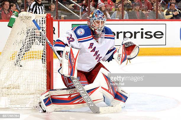 Antti Raanta of the New York Rangers gets ready to make a save against the Arizona Coyotes at Gila River Arena on December 29 2016 in Glendale Arizona