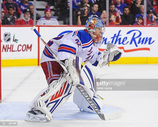 Antti Raanta of the New York Rangers in action against the Calgary Flames during an NHL game at Scotiabank Saddledome on December 12 2015 in Calgary...