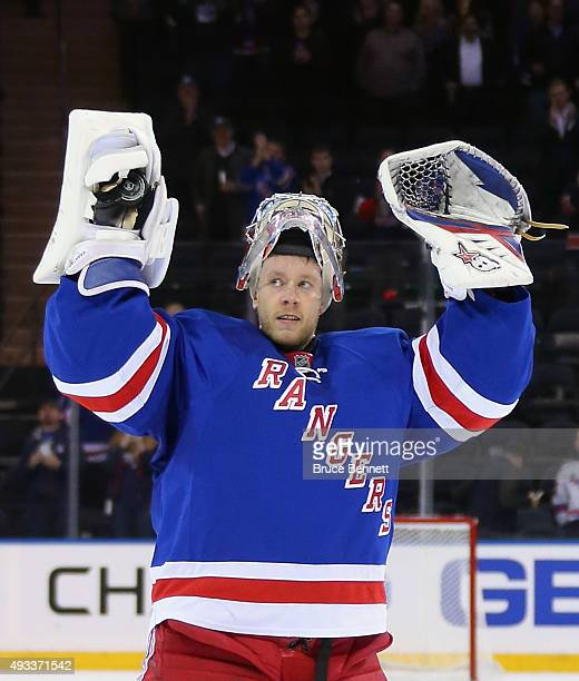 Antti Raanta of the New York Rangers is announced as the first star of the game following a 40 shutout against the San Jose Sharks at Madison Square...