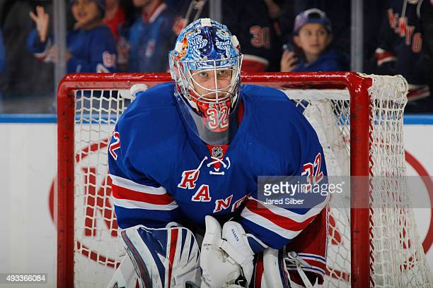 Antti Raanta of the New York Rangers looks on during pre game warm ups before the game against the San Jose Sharks at Madison Square Garden on...