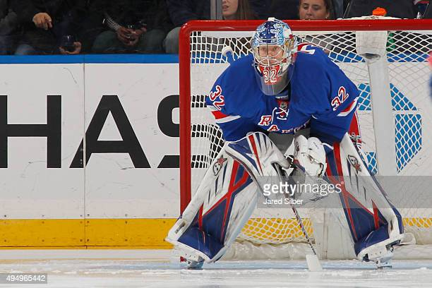 Antti Raanta of the New York Rangers looks on prior to the first period against the Calgary Flames at Madison Square Garden on October 25 2015 in New...