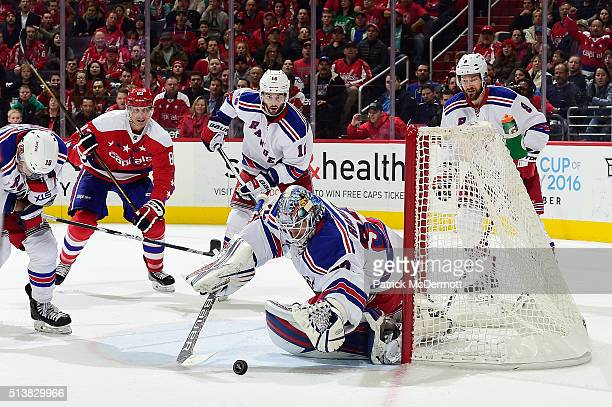 Antti Raanta of the New York Rangers makes a save in the third period during their game against the Washington Capitals at Verizon Center on March 4...