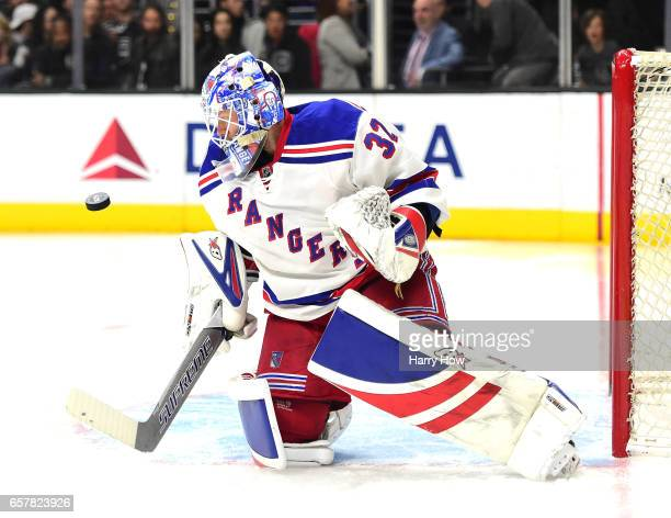 Antti Raanta of the New York Rangers makes a save on an Los Angeles Kings shot during the second period at Staples Center on March 25 2017 in Los...