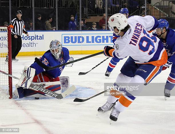 Antti Raanta of the New York Rangers makes the save on John Tavares of the New York Islanders at Madison Square Garden on March 6 2016 in New York...