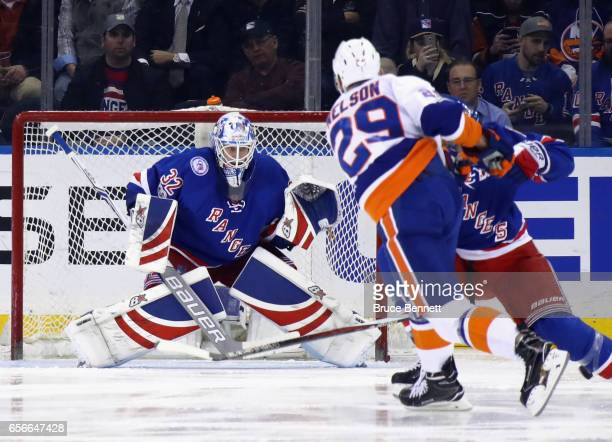 Antti Raanta of the New York Rangers prepares for a shot from Brock Nelson of the New York Islanders during the second period at Madison Square...