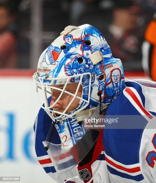 Antti Raanta of the New York Rangers tends net against the New Jersey Devils at the Prudential Center on March 21 2017 in Newark New Jersey