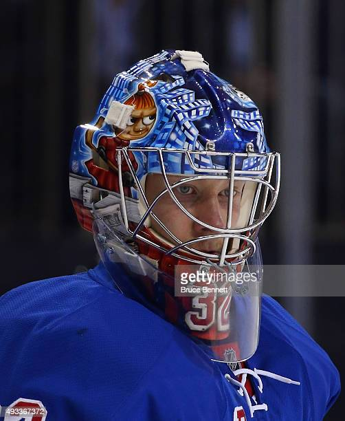Antti Raanta of the New York Rangers tends net against the San Jose Sharks at Madison Square Garden on October 19 2015 in New York City