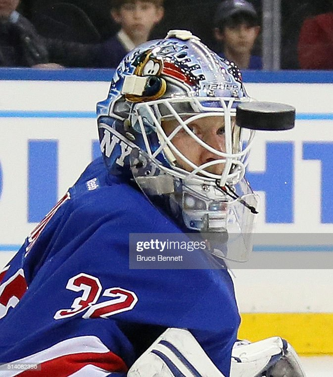 Antti Raanta #32 of the New York Rangers watches a first period shot sail past him against the New York Islanders at Madison Square Garden on March 6, 2016 in New York City.