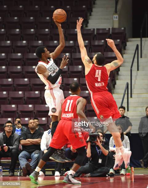 Antwaine Wiggins of the Raptors 905 shoots the ball over Abdel Nader of the Maine Red Claws at the Hershey Centre on April 19 2017 in Mississauga...