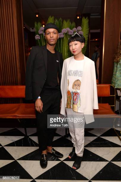 Antwaun Sargent and Jia Jia Fei attend the Gucci x Angelica Hicks private dinner celebration on May 18 2017 in New York City