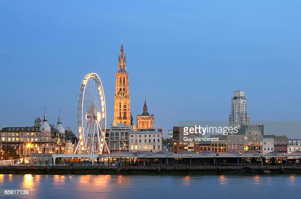 Antwerp Cathedral with ferris wheel